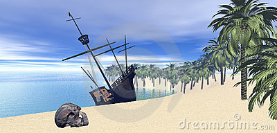 Sailing ship on desert island