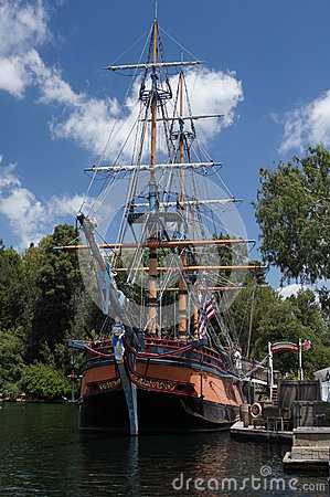 Sailing Ship at Disneyland Editorial Stock Photo
