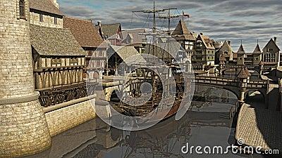 Sailing ship at the Docks