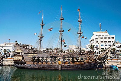 Sailing ship in the harbor. Editorial Stock Image