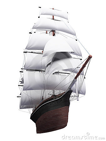 Free Sailing Ship Isolated Over White Stock Photography - 6493632
