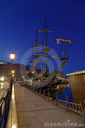 Sailing ship at night