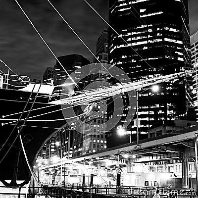 Free Sailing Ship Prow & Skyline Of New York Stock Image - 2075301
