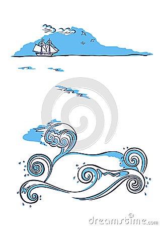 Sailing ship sea nautical background