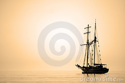 Sailing ship sepia toned.