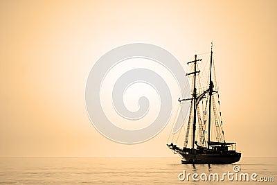 Sailing ship sepia toned.