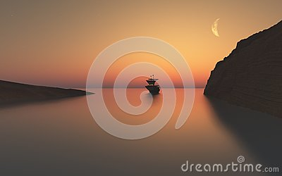 Sailing ship  in the twilight