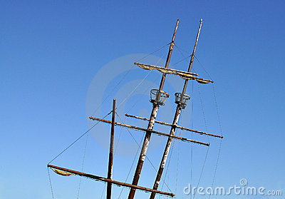 Sailing ship with two crow nests
