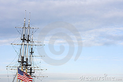 Sailing ship us flag 4th july