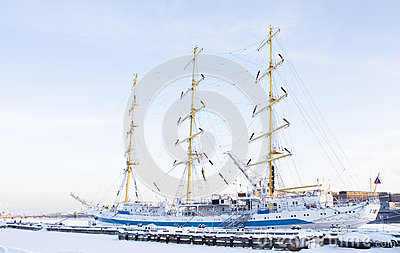 Sailing ship in winter, St. Petersburg