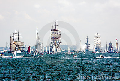 Sailing ships on the high seas Editorial Stock Image