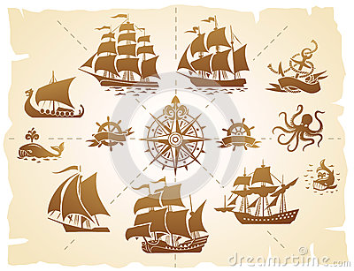 Sailing ships silhouettes set