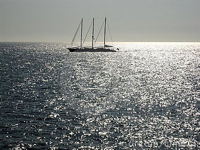 Sailing in silver sea