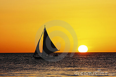 Sailing in sunset