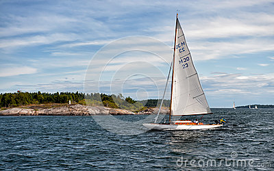 Sailing in the Swedish archipelago of Gryt Editorial Photo