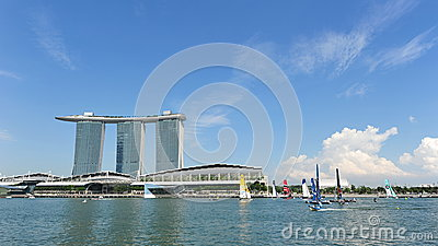 Sailing teams racing at Extreme Sailing Series Singapore 2013 Editorial Photo