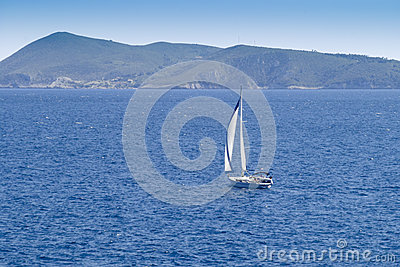 Sailing to Bisevo Island in Adriatic Sea