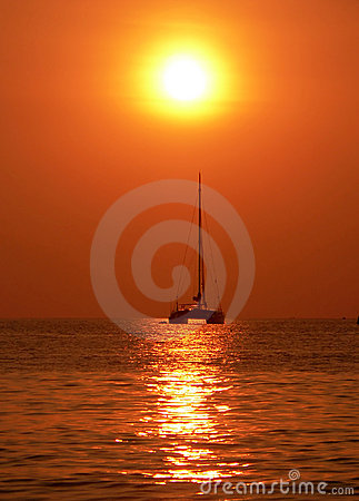 Sailing towards hazy sunset, Andaman Sea, Asia