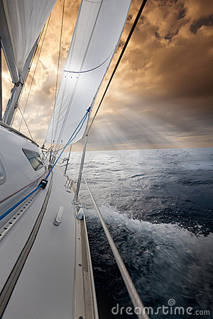 Free Sailing Towards The Sunset Royalty Free Stock Photo - 19674275