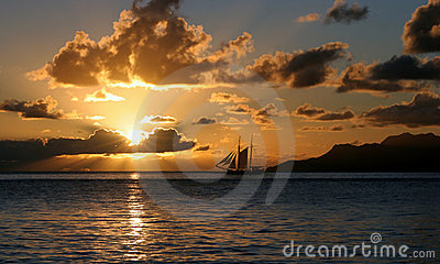 Sailing vacation in sunset rays.