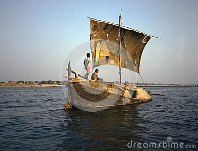 sailing vessel on the Ganges