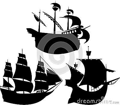 Sailing vessel silhouettes set
