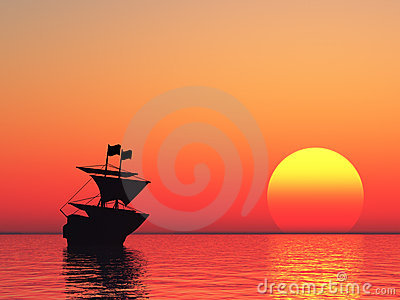 Sailing vessel and sunset