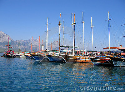 Sailing vessels in the harbor