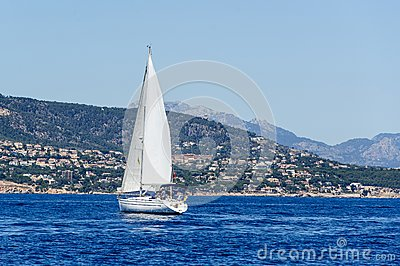Sailing yacht in calm weather