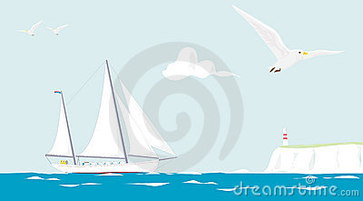 Sailing yacht cruising