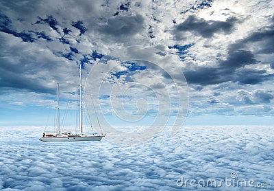 Sailing yacht on a peaceful ocean voyage