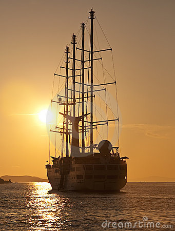 Sailing yacht for a romantic trip at sunset