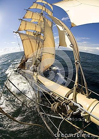 Sailingship sikt från bogspröt Redaktionell Arkivbild
