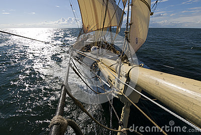 Sailingship view from bowsprit Editorial Photography