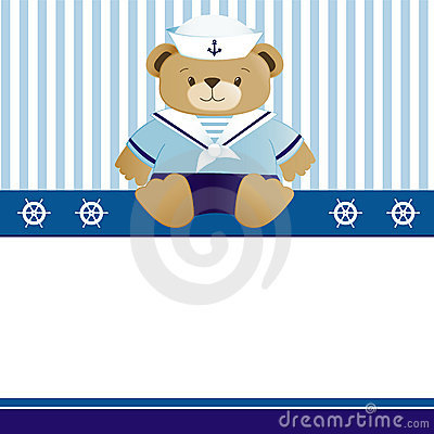 Free Sailor Baby Boy Arrival Announcement Card Royalty Free Stock Photo - 10238595