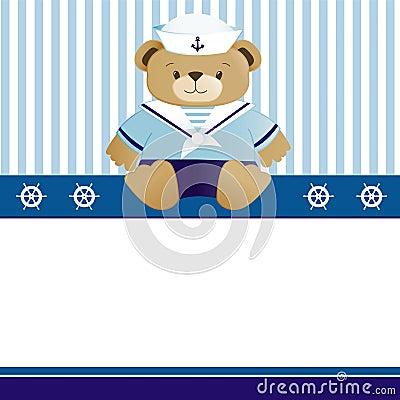 Sailor baby boy arrival announcement card