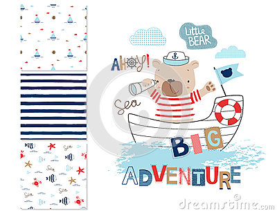 Sailor bear and 3 seamless patterns Vector Illustration