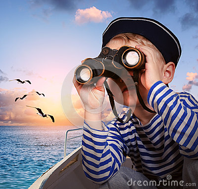Free Sailor Boy With Binoculars In The Boat Royalty Free Stock Image - 30540556