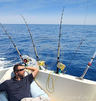 Free Sailor Man Fishing Resting In Boat Summer Vacation Royalty Free Stock Photography - 16509087