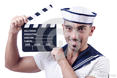 Sailor with movie clapper