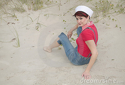 Sailor woman on the beach