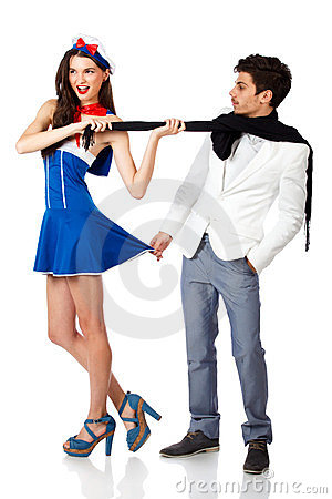 Sailor woman and elegant man flirting