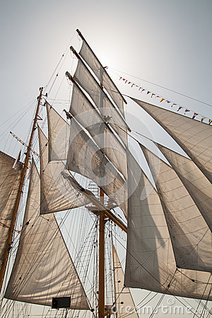 Free Sails Of An Old Sailing Ship Stock Image - 42333661