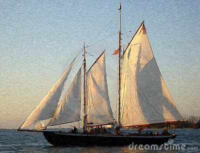 Sailship at Sunset