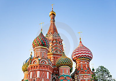 Saint Basil Cathedral in Moscow at sunset
