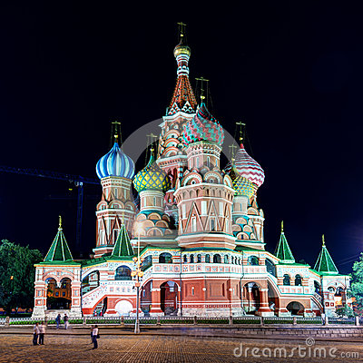 Free Saint Basil Cathedral On The Red Square At Night In Moscow Royalty Free Stock Photography - 33002747