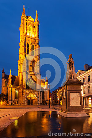 Free Saint Bavo Cathedral In The Evening. Sint-Baafsplein, Ghent, Bel Royalty Free Stock Photo - 30390175