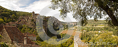 Saint-Cirq-Lapopie in Panoramic view France