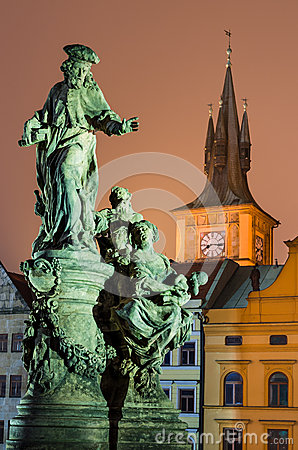 Saint Ivo statue and Smetana clock-tower, Prague.