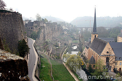 Saint John Church and town wall in Luxembourg City